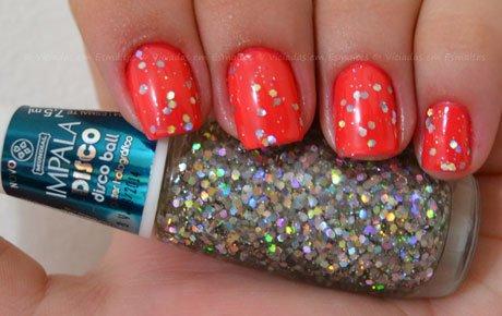 Unhas com glitter Impala Disco Ball
