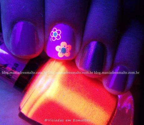 Unhas Decoradas com esmalte neon