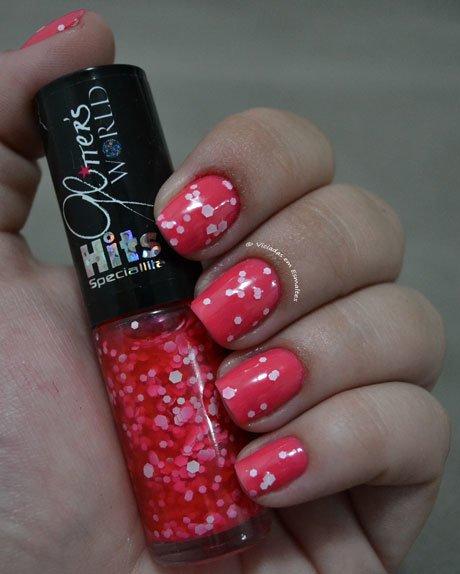 Unhas com Esmalte Glitter Pequim Hits