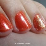Unhas com Esmalte DNA Sunset + Glitter Forte Hits Power Pop