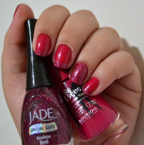 Esmalte rosa + francesinha com glitter + filha única