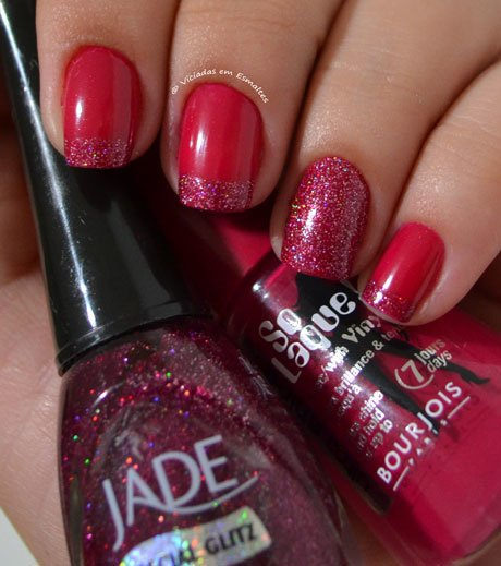 Unhas Decoradas com base gliter 5cinco