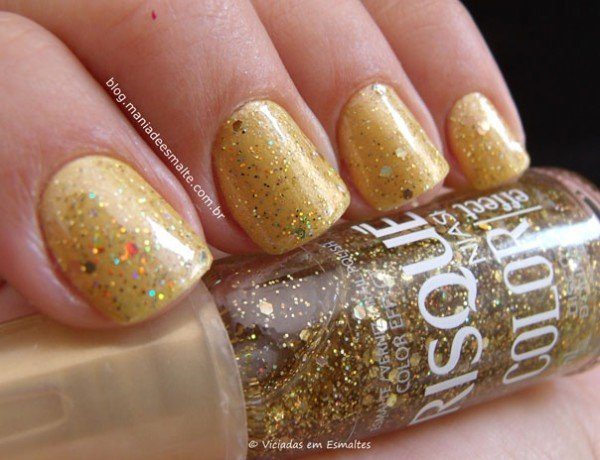 Esmalte Barbie Blonde + Glitter Disco D'Ouro Risqué Color Effect