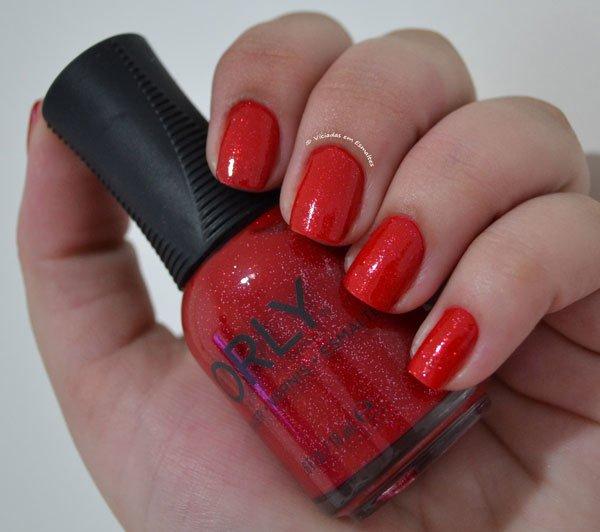 Unhas com <b >Esmalte</b > Orly Red Carpet