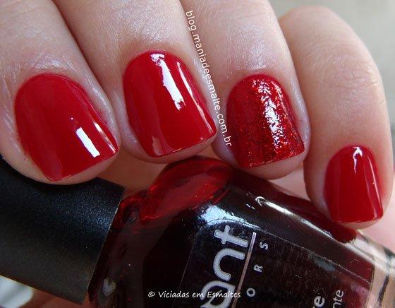 Esmalte Revlon Red + filha única com glitter
