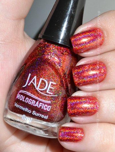 Unhas com Esmalte Vermelho Surreal Holográfico Jade