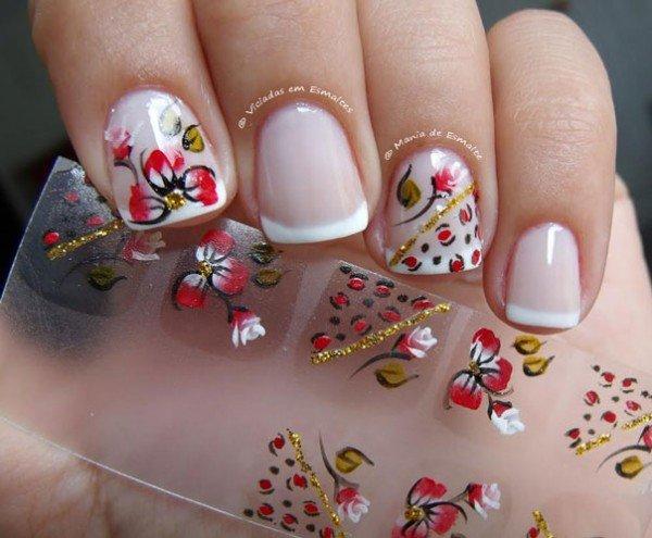 unhas decoradas Com Adesivos flores
