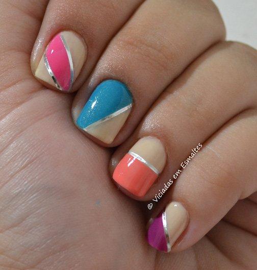 Nail Art Colorida com Fitilho