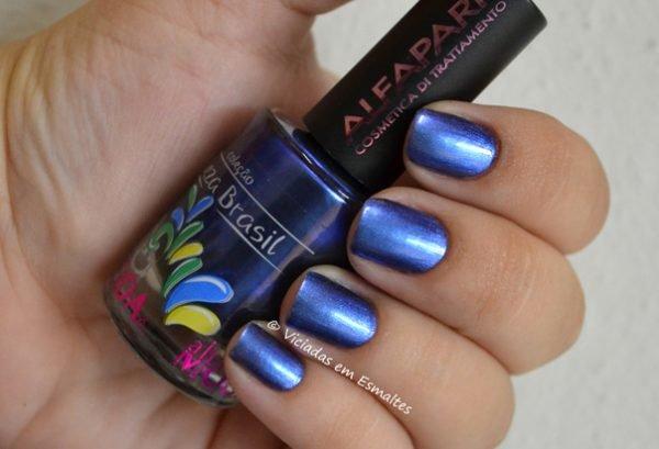 Unhas com Esmalte Azul Precioso Alfaparf