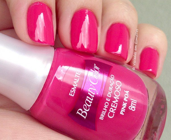 Unhas com Esmalte Beauty Color Pink Poá