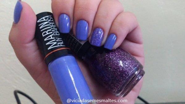 Esmalte lilás+ filha única com glitter