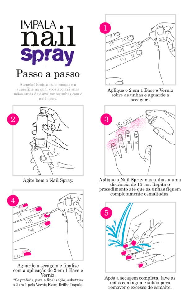Nail Spray Impala - passo a passo esmalte spray