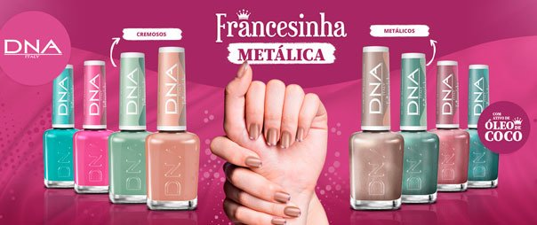 Esmaltes de Unha Francesinha Metálica DNA Italy
