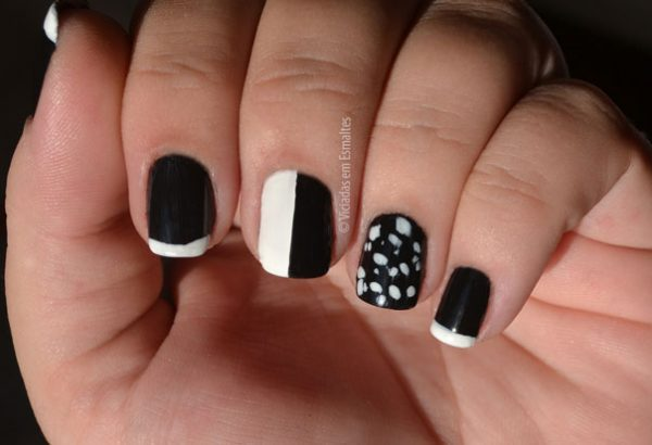 Unhas Decoradas Mix And Match - Nail Art Preto e Branco